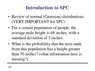 Introduction to SPC