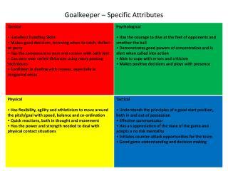 Goalkeeper   Specific Attributes