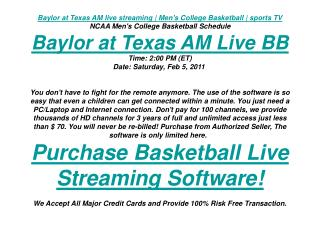 Baylor at Texas AM live streaming | Men's College Basketball