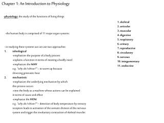 Chapter 1: An Introduction to Physiology