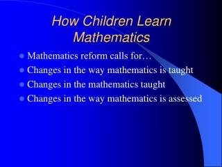 How Children Learn Mathematics