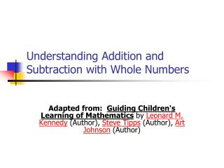 Understanding Addition and Subtraction with Whole Numbers