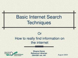 Basic Internet Search Techniques