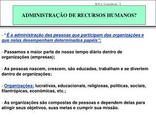 ADMINISTRA  O DE RECURSOS HUMANOS