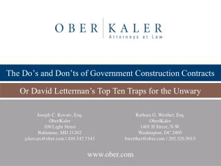 The Do s and Don ts of Government Construction Contracts