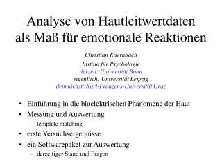 Analyse von Hautleitwertdaten als Ma  f r emotionale Reaktionen