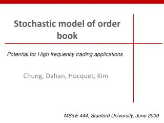 Stochastic model of order book