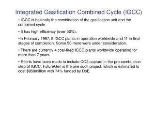 Integrated Gasification Combined Cycle IGCC