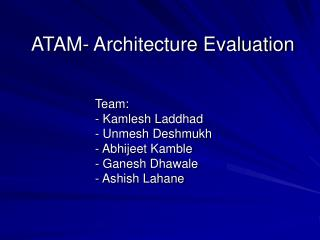 ATAM- Architecture Evaluation