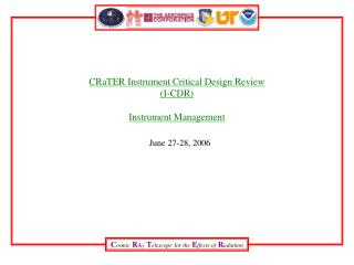CRaTER Instrument Critical Design Review I-CDR  Instrument Management