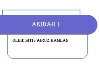 AKIDAH 1