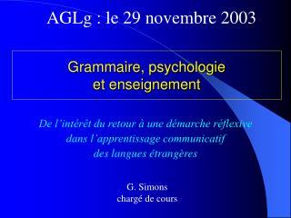 Grammaire, psychologie  et enseignement