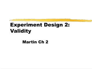 Experiment Design 2: Validity