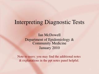 Interpreting Diagnostic Tests
