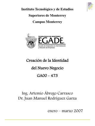 Instituto Tecnol gico y de Estudios  Superiores de Monterrey Campus Monterrey      Creaci n de la Identidad  del Nuevo N