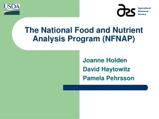 The National Food and Nutrient Analysis Program NFNAP