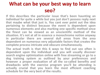 how to learn seo work