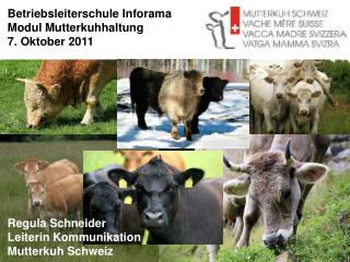 Betriebsleiterschule Inforama Modul Mutterkuhhaltung 7. Oktober 2011             Regula Schneider Leiterin Kommunikation