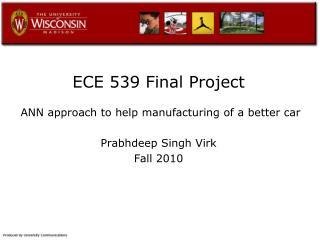 ECE 539 Final Project