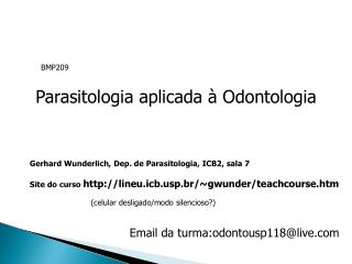 Parasitologia aplicada   Odontologia