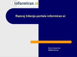 Razvoj tr enja portala informiran.si