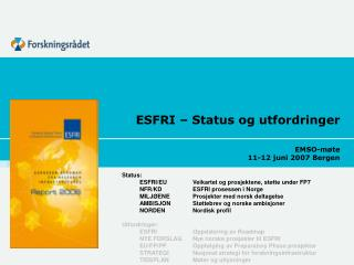 ESFRI   Status og utfordringer