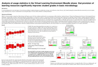 Analysis of usage statistics in the Virtual Learning Environment Moodle shows  that provision of learning resources sign