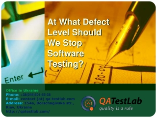 At What Defect Level Should We Stop Software Testing?