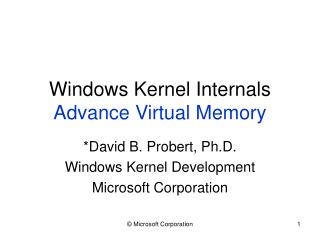 Windows Kernel Internals Advance Virtual Memory