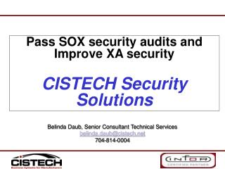 Pass SOX security audits and Improve XA security   CISTECH Security Solutions