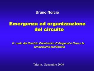 Bruno Norcio  Emergenza ed organizzazione del circuito   IL ruolo del Servizio Psichiatrico di Diagnosi e Cura e la conn
