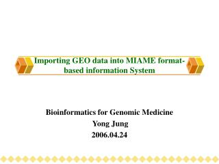 Importing GEO data into MIAME format-based information System