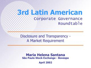 3rd Latin American Corporate Governance Roundtable