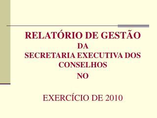 RELAT RIO DE GEST O  DA  SECRETARIA EXECUTIVA DOS CONSELHOS  NO   EXERC CIO DE 2010