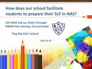 How does our school facilitate students to prepare their SLP in NAS  LEE SHEK Yuk-yu, Ruth, Principal  KWAN Hon-cheung,