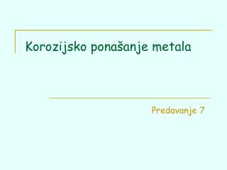 Korozijsko pona anje metala
