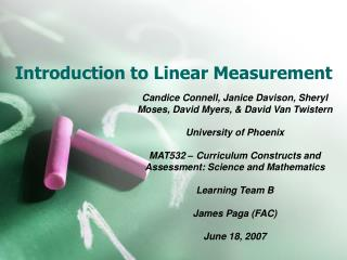 Introduction to Linear Measurement