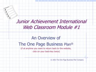 Junior Achievement International Web Classroom Module 1