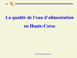 La qualit  de l eau d alimentation en Haute-Corse