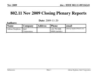 802.11 Nov 2009 Closing Plenary Reports