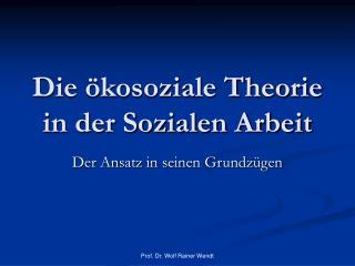 Die  kosoziale Theorie in der Sozialen Arbeit