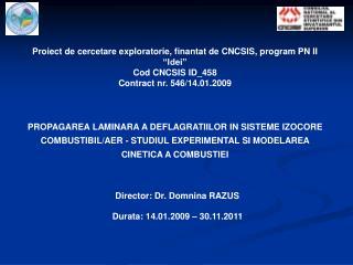 Proiect de cercetare exploratorie, finantat de CNCSIS, program PN II  Idei  Cod CNCSIS ID_458 Contract nr. 546