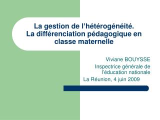La gestion de l h t rog n it .  La diff renciation p dagogique en classe maternelle