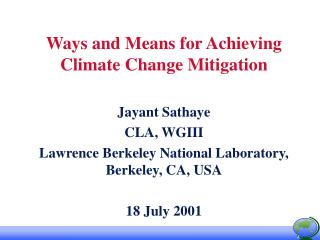 Ways and Means for Achieving Climate Change Mitigation
