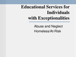 Educational Services for Individuals