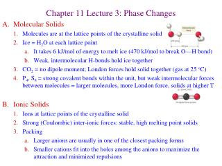 Chapter 11 Lecture 3: Phase Changes