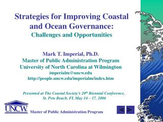 Strategies for Improving Coastal  and Ocean Governance: Challenges and Opportunities