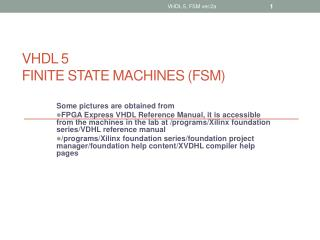 VHDL 5 FINITE STATE MACHINES FSM