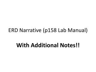 ERD Narrative p158 Lab Manual