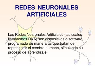 REDES    NEURONALES ARTIFICIALES